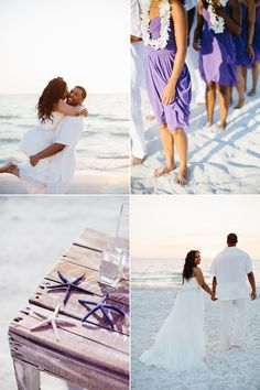purple and white clearwater beach wedding