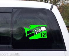 NEW Seattle Seahawks Football Logo State Silhouette Decal 2 Tone Vinyl 8