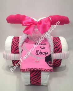 Fashionista Tricycle Diaper Cake - Baby Girl - Diaper Cakes #babyshower #pink