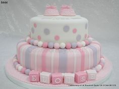 Stripes and spotty pink and lilac Christening cake. Christening Cake Girls, Baby Girl Baptism, Baptism Cakes, Gateau Baby Shower, Baby Shower Cakes, Fancy Cakes, Cute Cakes, Fondant Cakes, Cupcake Cakes