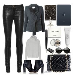 """""""#tote"""" by arethaman ❤ liked on Polyvore featuring Apple, Byredo, Bobbi Brown Cosmetics, Gianvito Rossi, Alexander Wang, Chanel, rag & bone/JEAN, Dunhill, Autumn Cashmere and women's clothing"""