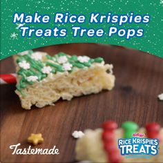 These festive Rice Krispies Treats Tree Pops will spruce up your holiday dessert table Simply cut your treats into tree shapes and press them onto festive sticks to hold. Christmas Snacks, Christmas Goodies, Holiday Treats, Kids Christmas, Holiday Recipes, Christmas Stuff, Xmas, Rice Krispies, Rice Krispie Treats