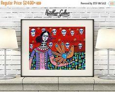 50% Off Today- Day of the Dead Print - Sugar Skulls Mexican Folk Art Poster Frida Kahlo (HG364)