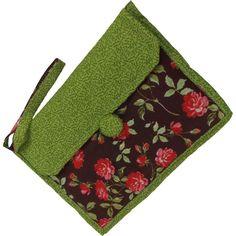 Capa para Tablet em Tecido Patchwork Marrom Floral