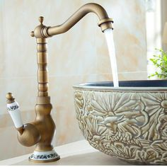Add vintage style to your space with this stunning brass faucet! Made from premium brass. Comes with hot & cold water piping! Free Worldwide Shipping & Money-Back Guarantee Stainless Steel Faucets, Brass Faucet, Crane Design, Waterfall Faucet, Vintage Industrial Decor, Industrial Bathroom, Rainfall Shower, Style Vintage, Vintage Music