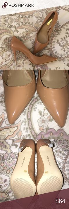 """NEW BCBG Nude Pumps Perfect nude BCBG """"Treasure"""" patent pump. Size 9.5. Heel Height: 4"""". Heel has subtle/cute fade to a silver/gold so just the tip of heel is a silver/gold (can be seen in pics). Heel is just a bit too high for me and realized I never returned when cleaning my closet out! BCBGeneration Shoes Heels"""