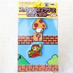 Super Mario Bros. Dot Character Pins Set Mario Ver.1 JAPAN NES FAMICOM NINTENDO
