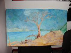 Playón del lago de Valencia, árbol seco por la crecida del lago. Pintura hecha al aire libre en la isla ¨La Culebra¨ en el lago de Valencia, estado Carabobo, Venezuela.