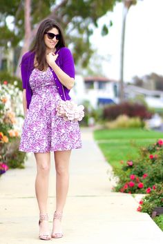 Purple All Over, LA Fashion Blogger Laura Lily, purple floral Express dress, cropped purple cardigan, studded Steve Madden heels blush, flower Just Fab Clutch, purple Prada Cat-eye sunglasses, personal Stylist in Los Angeles,