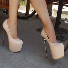 Cream 18 cm High Heel Women Platform Shoes New Season High Quality, Fashionable . High Platform Shoes, Cute High Heels, Extreme High Heels, Metallic Heels, Hot Heels, Fashion Heels, High Heel Boots, Womens High Heels, Wedding Shoes