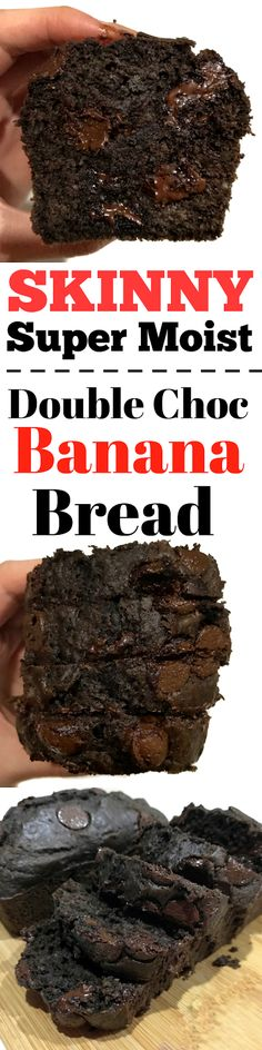 Skinny Healthy Double Chocolate Chip Banana Bread. Substitute Sugar for Honey and the addition of greek yogurt makes the cake SUPER moist!!