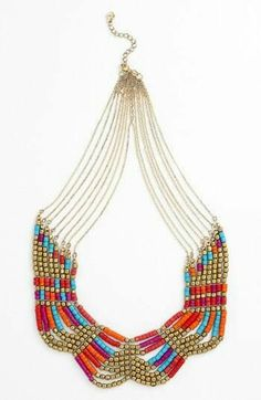 Colorful beaded statement necklace.