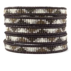 Bronze Mix Beaded Wrap Bracelet on Natural Dark Brown Leather - Chan Luu