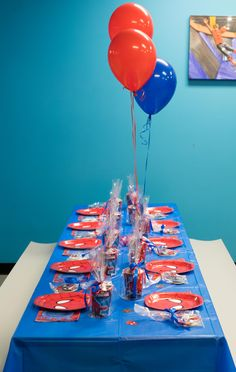 Spiderman Birthday Party! Tablescape - Children Parties- Red and Blue