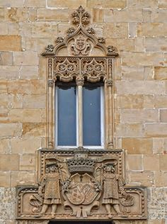 Ciudad Rodrigo palace of Marquesa de Cartago window detail, Castille and Leon, Spain
