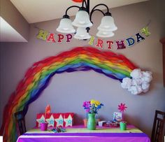 Cute rainbow party decoration backdrop - twisted garland and a tissue paper cloud My Little Pony Party, Little Pony Birthday Party, Rainbow Birthday Party, Trolls Party, Trolls Birthday Party, Unicorn Birthday Parties, Birthday Party Decorations, 3rd Birthday, Birthday Ideas
