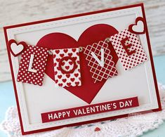 Design cards and crafts for Valentine's Day with the Banner Year - Love Stamp & Die Combo! Valentine Love Cards, Valentine Crafts, Handmade Valentines Cards, Homemade Valentines Day Cards, Valentine Cookies, Love Stamps, Banner, Valentine's Day Diy, Homemade Cards