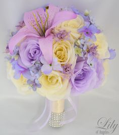 17 Piece Package Wedding Bridal Bride Maid Of Honor Bridesmaid Bouquet Boutonniere Corsage Silk Flower IVORY LAVENDER Lily of Angeles IVLV02