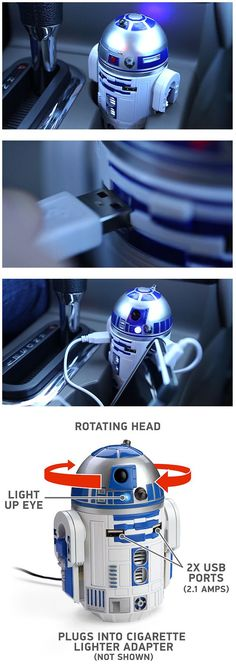 Car Accessory For Star Wars Fans – R2-D2 USB Car Charger http://www.giftideascorner.com/christmas-gifts-dad