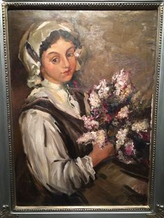 Girl with flowers, Ludolfs Liberts #ludolflibert  Painting from exhibition at Mukusalas Makslas salons in Riga, Latvia
