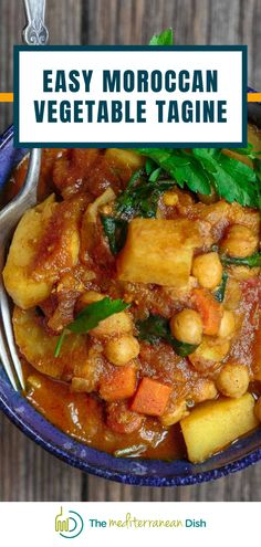 This is a simple vegetable tagine recipe packed with warm Moroccan flavors. One of my new favorite one-pot meals. Vegan and Gluten free! Comfort food at its finest! Moroccan Vegetable Tagine Recipe, Moroccan Vegetables, Vegetable Stew, Vegetable Recipes, Tagine Recipes, Curry Recipes, Soup Recipes, Mediterranean Dishes, Everyday Food