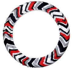 Black/Red/Gray Chevron Steering Wheel Cover by EmbellishMePattyV, $19.00