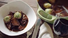 Beef stew with fluffy dumplings. This is the ultimate cold-weather comforter that will stick to your ribs after a hearty wintry walk. Fluffy Dumpling Recipe, Easy Beef Stew, Irish Beef, Vegetable Puree, Dumplings, Casserole Dishes, Beef Recipes, Cooker Recipes, Soups And Stews