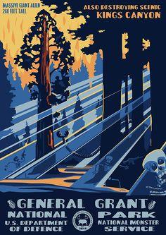 national park alien invasion poster