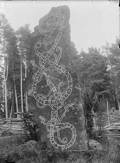 """With traditional """"gärdesgård"""" fence in the background Ancient Runes, Ancient Art, Ancient History, Viking Art, Viking Runes, Les Runes, Viking Designs, Rune Stones, Norse Vikings"""