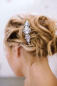 Sara Gabriel Headpieces & Hair Jewelry. Elisa is a classic bridal crystal hair comb with a bit of Hollywood Glam attitude. Versatile. Works with any hairstyle. http://perfectdetails.com/Elisa-Comb.htm