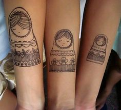Love the idea of Russian dolls for sisters. Not so keen on the size of them... Maybe if they could be tiny, but the detail wouldn't be there Hand Tattoos, Tatoos, Hand Henna, Piercings, Mother And Father, Daughters, Tattoo Ideas, Scribble, Projects