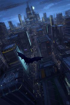 Batman and the Gotham skyline Posters Batman, Batman Artwork, Batman Wallpaper, Batman Arkham Knight, Batman The Dark Knight, Illustration Batman, Japon Illustration, Im Batman, Batman Robin