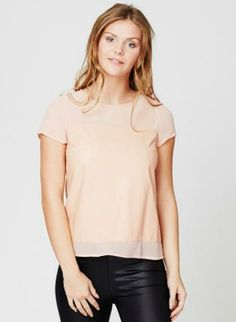 Peach Sheer Short Sleeve Top with Zipper #sheer #casual #top