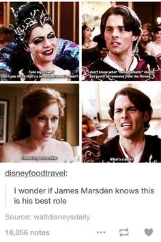 I usually don't like stupid characters in movies, but James Marsden's character in Enchanted was a favorite. He was a good type of stupid and totally a satire on Disney Princes. Disney And Dreamworks, Disney Pixar, Walt Disney, Disney Princes, Disney Love, Disney Magic, Disney Stuff, Tumblr Funny, Funny Memes