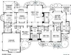 The Windsor Trace home design is brimming with European flair and features 3,224 square feet all on one level. 4 beds, 4 baths, 3224 sq. ft. Home Design Quick Facts: Spacious kitchen with built-in window seating. Covered and screened porches. Expansive... #europeanluxury #onestory #luxuryhomeplans