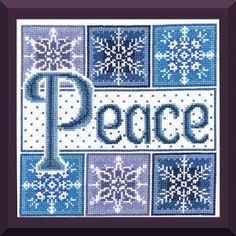 """Peace Snowflakes is designed by  Ursula Michael in lovely  blue and lavender shades.  Stitch count is 101 x 101 with a design size of 7.25"""" square on 14-count fabric. Supplies required: 14"""" (6"""" for finishing) 14-count White Aida (3706-100)   DMC Floss: 13 colors     Underline denotes products not included in kitting function. Our staff suggested substitutions appear in parentheses."""