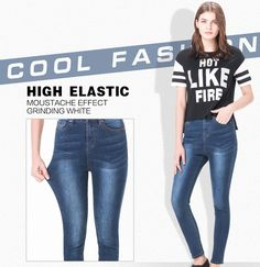 94b641a0291d4 Autumn Fashion S- High Waist jeans High Elastic plus size Women Jeans woman  femme washed casual skinny pencil Denim pants