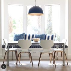 When a customer nails their fabric selection and their kitchen table situation ends up like this beaut. I love the navy black cream  natch wood. Thank you @christinaackermaninteriors for sharing your great space. #mytonicliving #toniclivingfabric #indigo #kitchen #homeinspo #decor #tabledecor