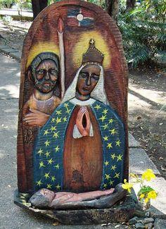Talla en madera con el tema de la virgen de la Altagracia, en los jardines del Parque de los Tres Ojos (foto: Faustino Pérez)