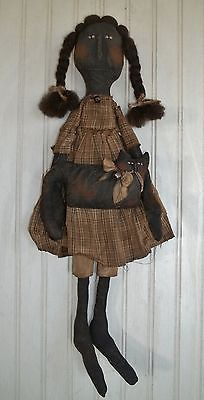 Primitive Grungy Emma Mae Black Girl Doll with Her House Cat Emma Mae, Holmes County, Girl Dolls, Rag Dolls, Primitive Doll Patterns, Vintage Dolls, Paper Cover, Amish, Toilet Paper