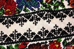 Bead Embroidery Work on Romanian Blouse Performed by Traditional Artisan Bead Embroidery Patterns, Beaded Embroidery, Point Lace, Beautiful Crochet, Crochet Stitches, Cotton Canvas, Weaving, Artisan, Traditional