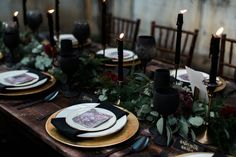 black taper candles Floral Wedding, Wedding Colors, Wedding Flowers, Black Wedding Decor, Gothic Wedding Decorations, Wedding Ideas, Green Wedding, Wedding Planning, Wedding Place Settings