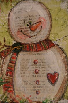 snowman mixed media