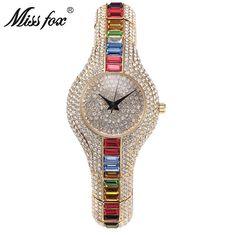 >> Click to Buy << Miss Fox Luxury Brand Fashion Watch Women Rhinestone Watches Diamond Dress Quartz Wristwatch Bracelet Clock Relogio Feminino #Affiliate
