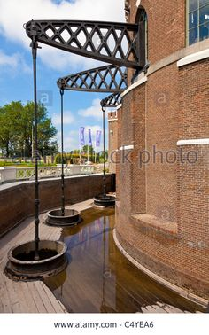 Beams and pumps of beam engine at De Cruquius steam powered water pumping station museum, Haarlemmermeer, Holland. JMH5025 Stock Photo