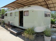A vintage restored '47 Westcraft trailer serves at the tasting room for Behrens Family Winery perched atop Spring Mountain
