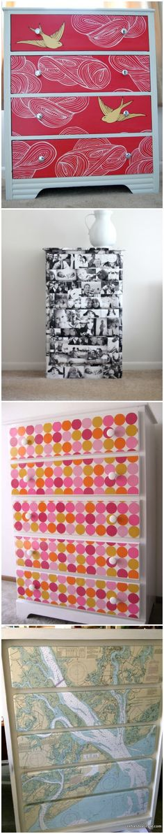 Have an old dresser than needs a bit of an upgrade? Use Mod Podge to decoupage and redo a dresser with ease! Here are 15 makeover ideas to inspired you. Don't let that dresser just sit there - repurpose it! via @modpodgerocks