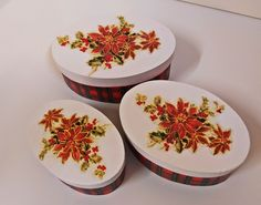 Set of tree Christmas theme boxes by Thoulie on Etsy