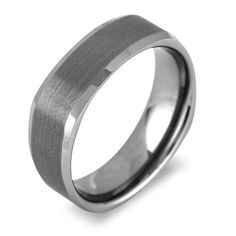 Men's Tungsten 7mm Gun Metal Gray Square Band | High Shine Sides Brushed Centre in Jewelry & Watches, Men's Jewelry, Rings | eBay