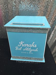 Large Card Box Glitter and Bling for Sweet 16 / Wedding / Mitzvah / Quince Bat Mitzvah Decorations, Bat Mitzvah Centerpieces, Bar Mitzvah Themes, Bar Mitzvah Party, Bat Mitzvah Gifts, Diy Card Box, Card Boxes, Bitten, Sweet 16